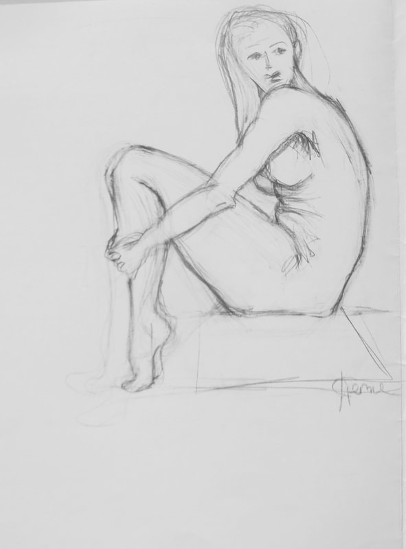 drawing young nude woman May Kristin Fjerme