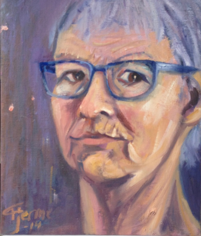 Self Portrait painting with blue glasses. Oil/canvas 2014 fjerme.com