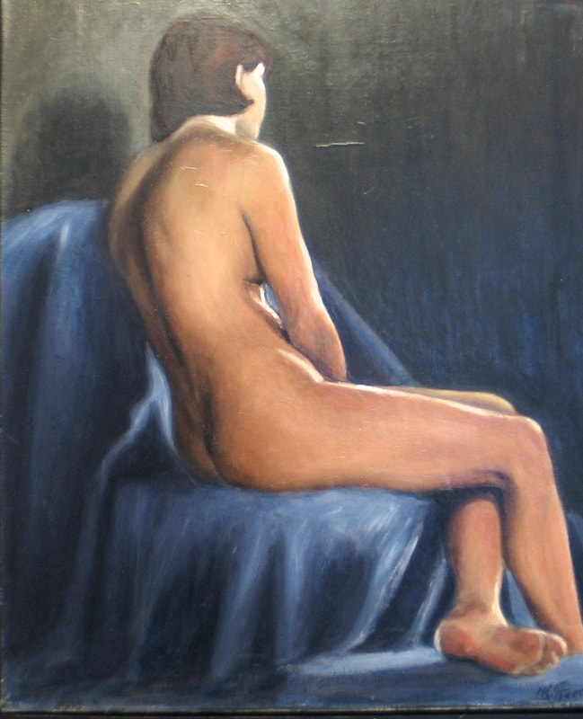 "May Kristin Fjerme ""blå akt"" - classical oil painting"